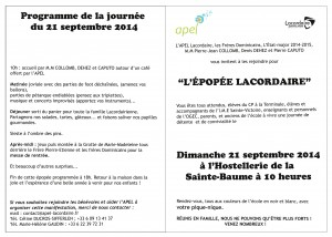 Programme de la journée du 21 septembre 2014